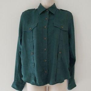 Ralph Lauren Petite Dark Green Long Sleeve Blouse
